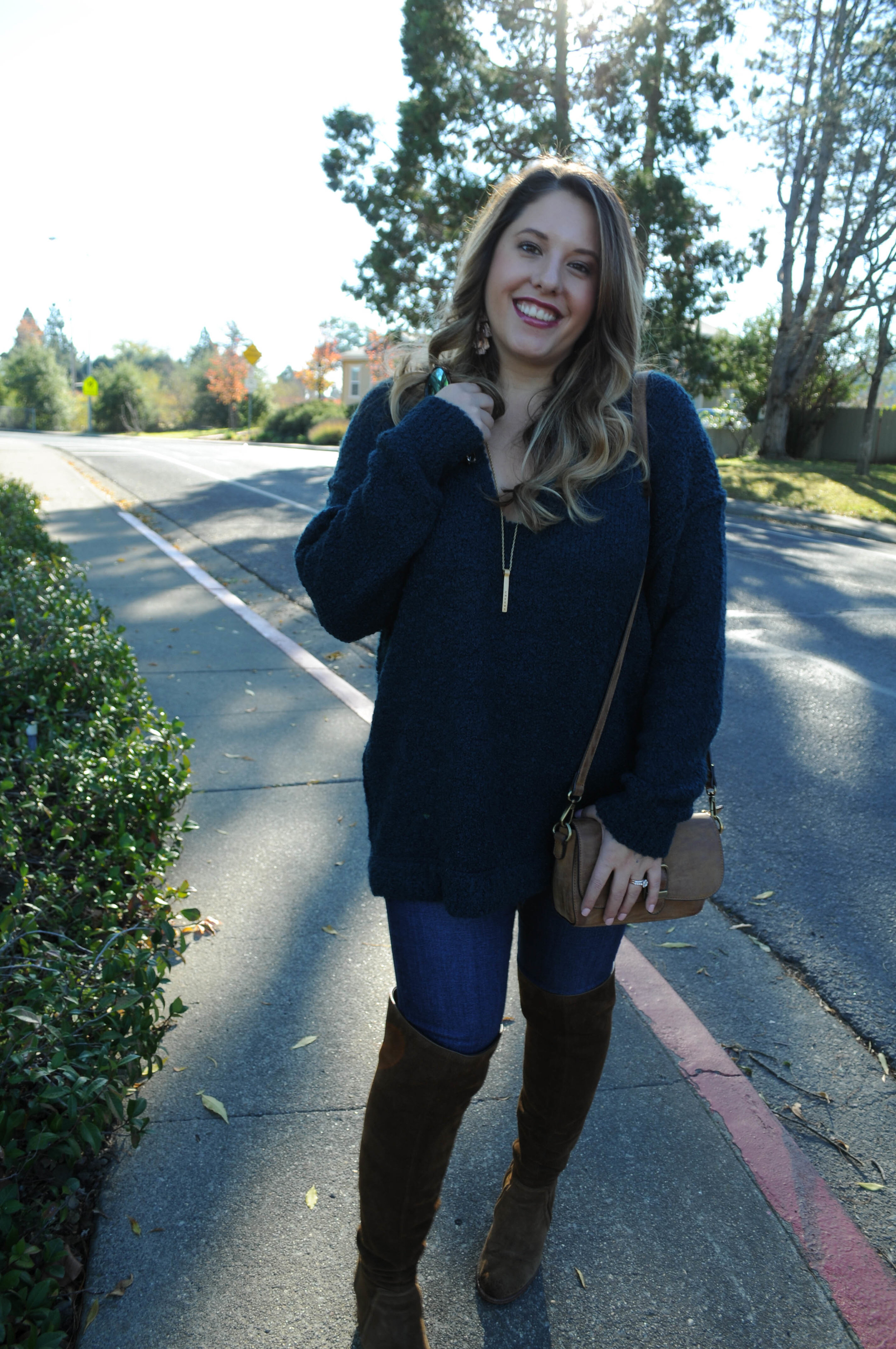 Details // Free People Boucle Oversized Sweater, Joes Jeans, Vince Camuto OTK Boots, Wilde earrings.