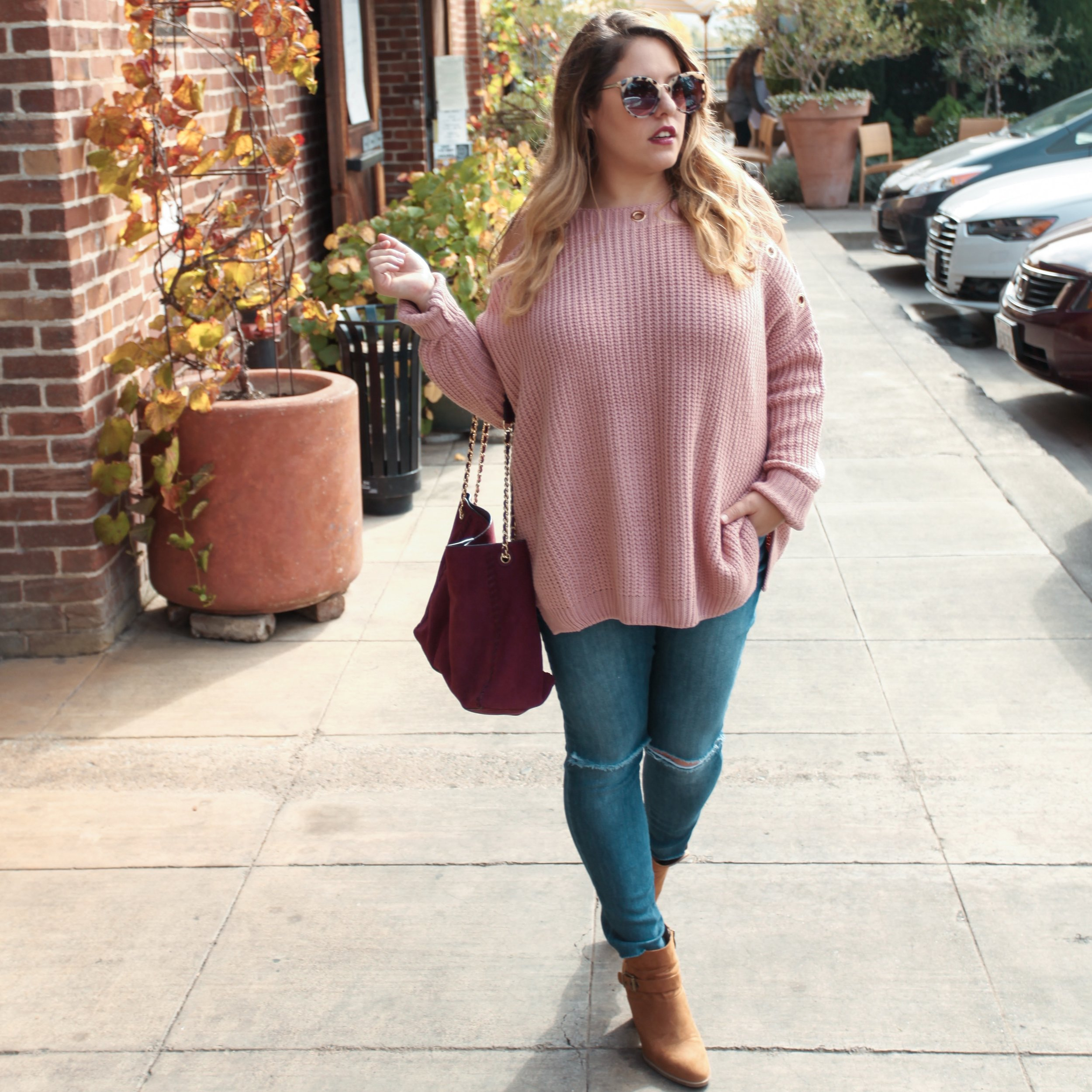 Details// Elan Sweater, Joes Jeans, both from Sisters boutique, Franco sarto booties from Marshall's, Tory Burch Bag and Laundry By Shelli Seigal Sunglasses.