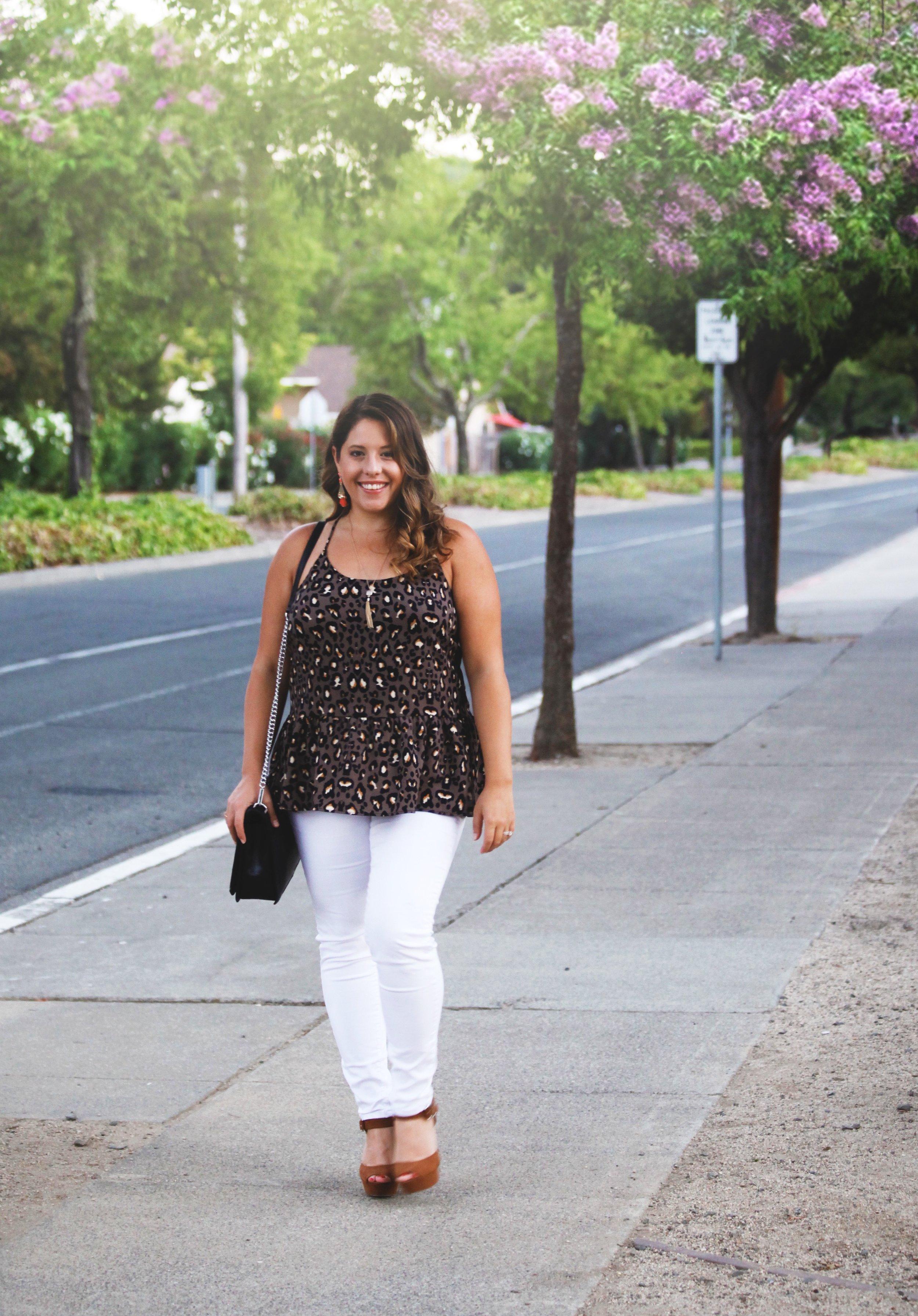 Details// Charlie Leopard top, White Joes Jeans, Target Heels, Rebecca Minkoff Bag, Wilde Earrings.