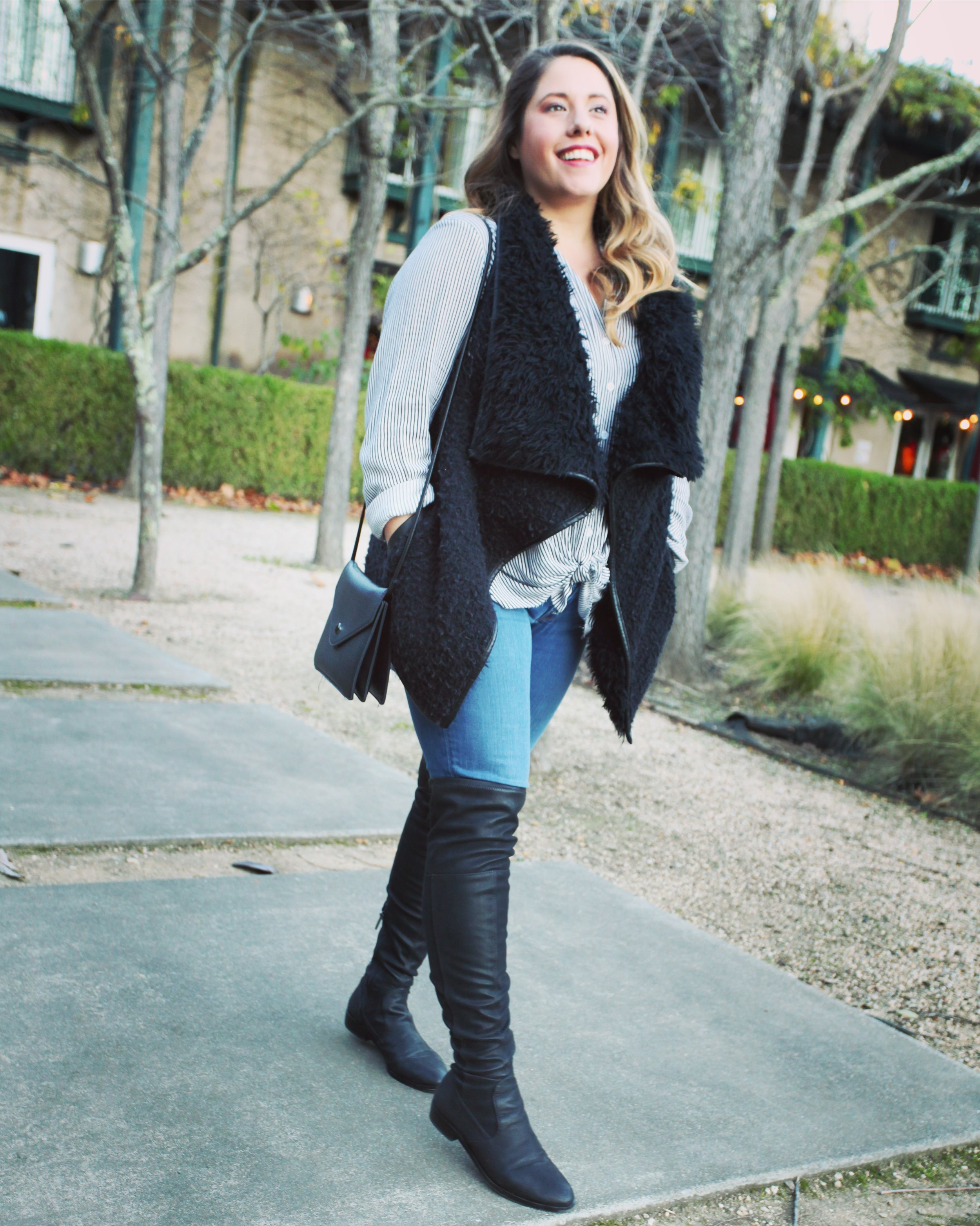 Details// Rue Stiic top, Forever 21 Fur Vest, Joes Jeans, Vince Camuto OTK Boots.   Photography: the majority of the photography used for this post was captured by the wonderfully talented Natalia Nicholas ! Check her out HERE !