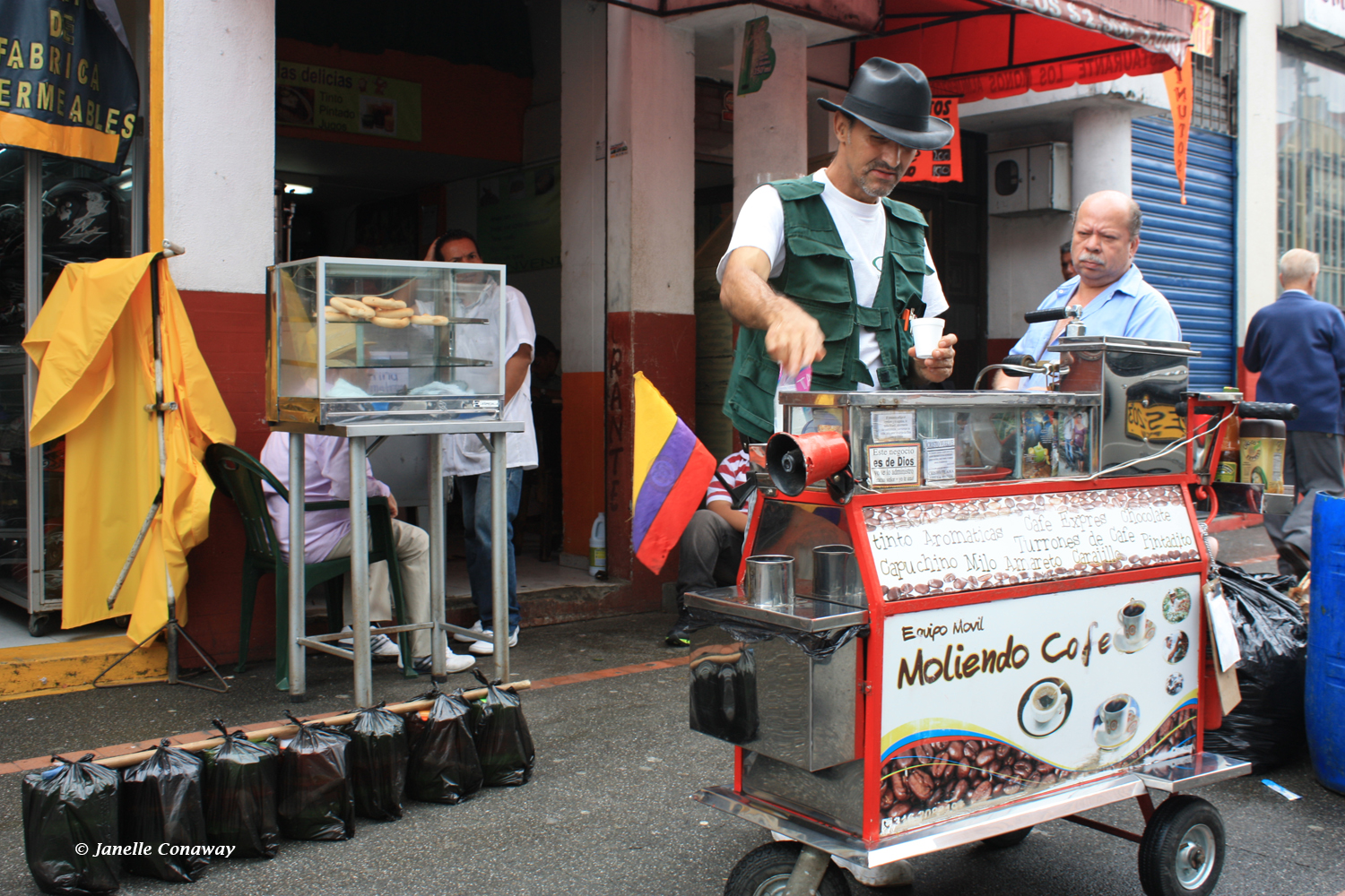 A street vendor in Pereira—in the department of Risaralda, part of the Coffee Cultural Landscape of Colombia—sells the region's signature brew.