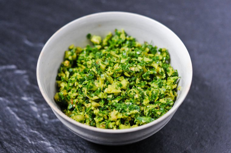 Gremolata   For extra taste and crunch, add chopped walnuts to lemon zest and minced garlic and parsley gremolata that you sprinkle on top ofbraised lamb shanks or veal dishes! If you are in a hurry, just mix chopped walnuts and parsley, and ready to go as in photo below.