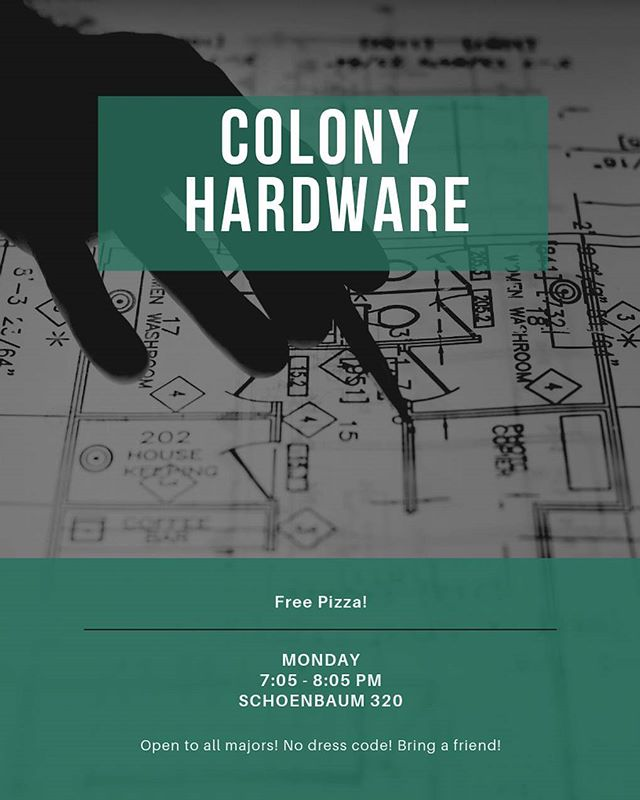 Hey TLA! I hope you had a fantastic Spring Break! It is that time again! Join us this week in welcoming Colony Hardware in our usual spot. As always, there is no dress code and pizza will be provided!