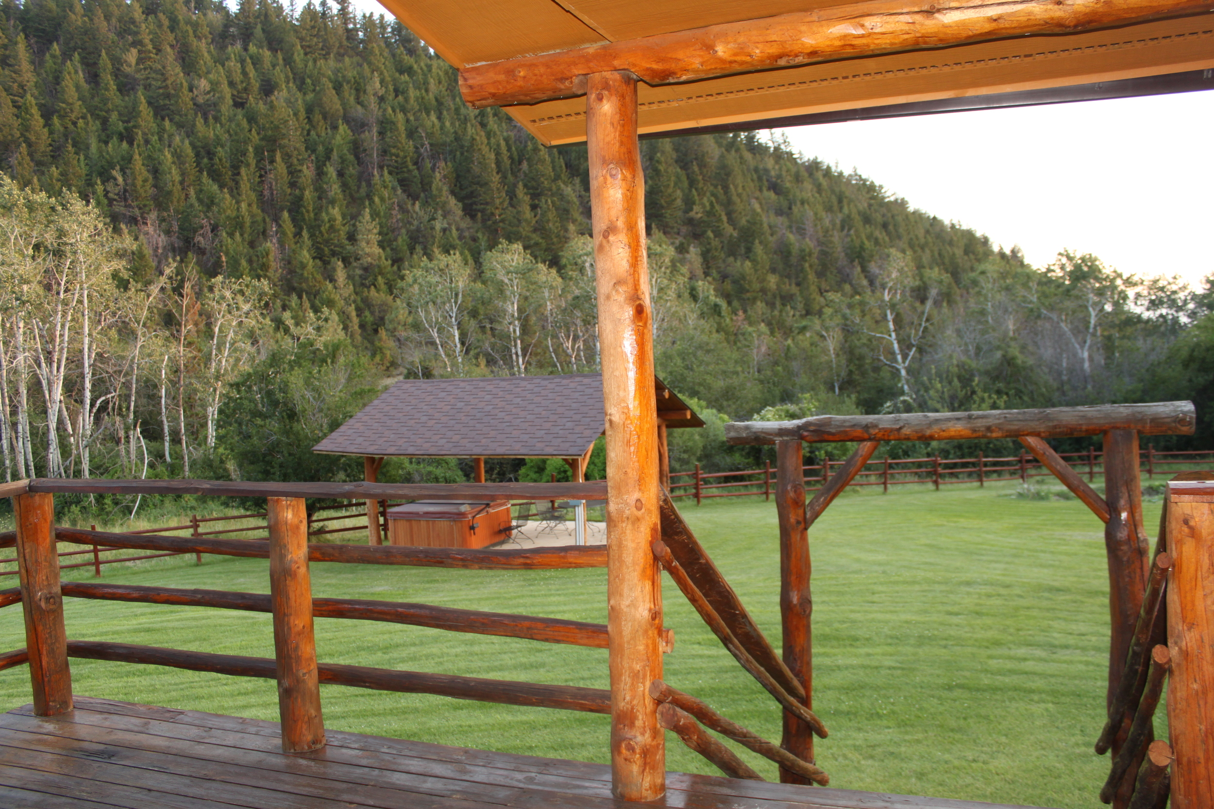 The back porch of the lodge