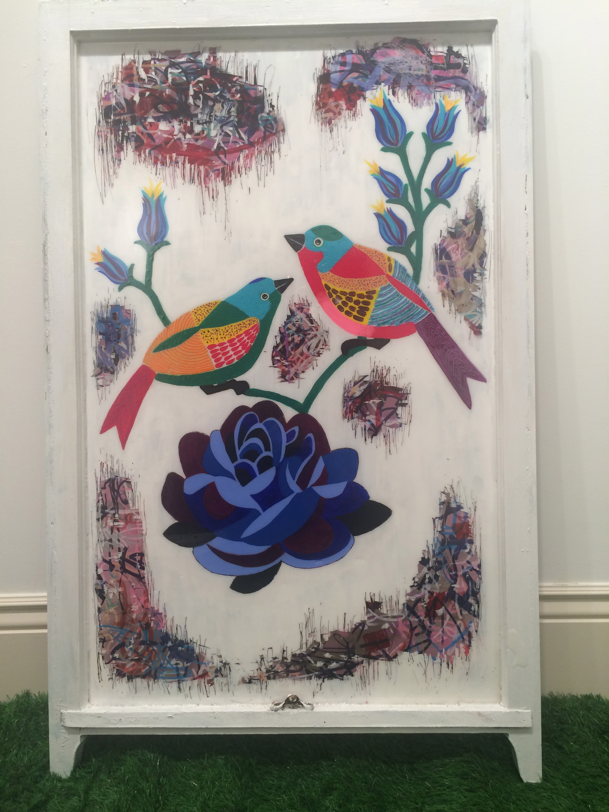 Birds with Blue Flower