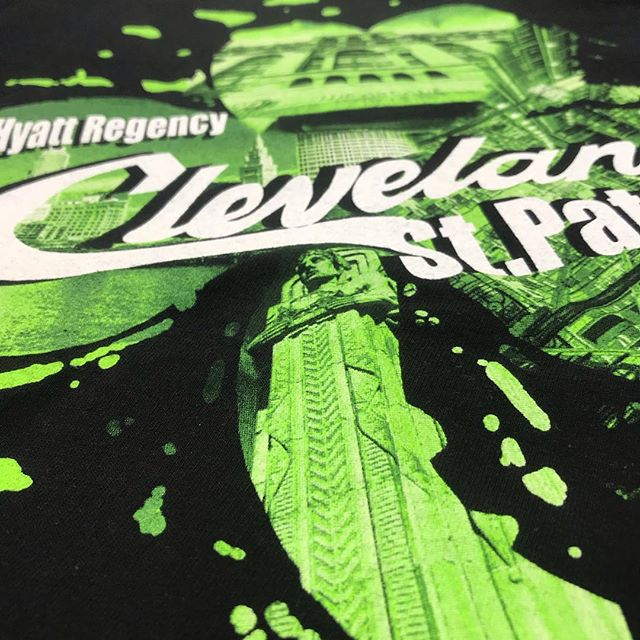 It's coming.... this St. Patrick's day we are paying attention to detail! #screenprinting #cleveland #cle #halftones #ink #hyatt #simprocess
