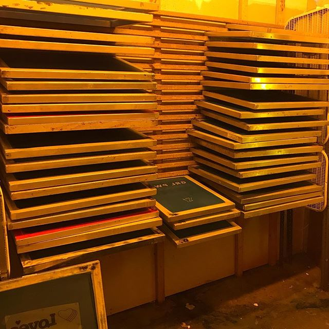 Rack-o-screens ready to roll for early next week. I feel like we are going through screens at a light speed pace. Must mean spring is in the air and T-shirt season is approaching!! #screenprinting #screens #exposureunitsonfire