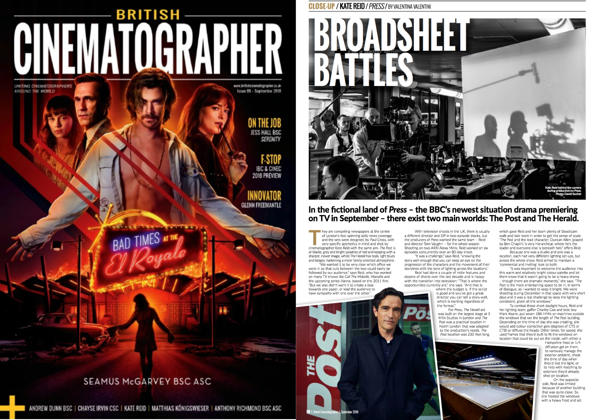 Feature article on the cinematography in BBC One drama PRESS in September's British Cinematographer Magazine