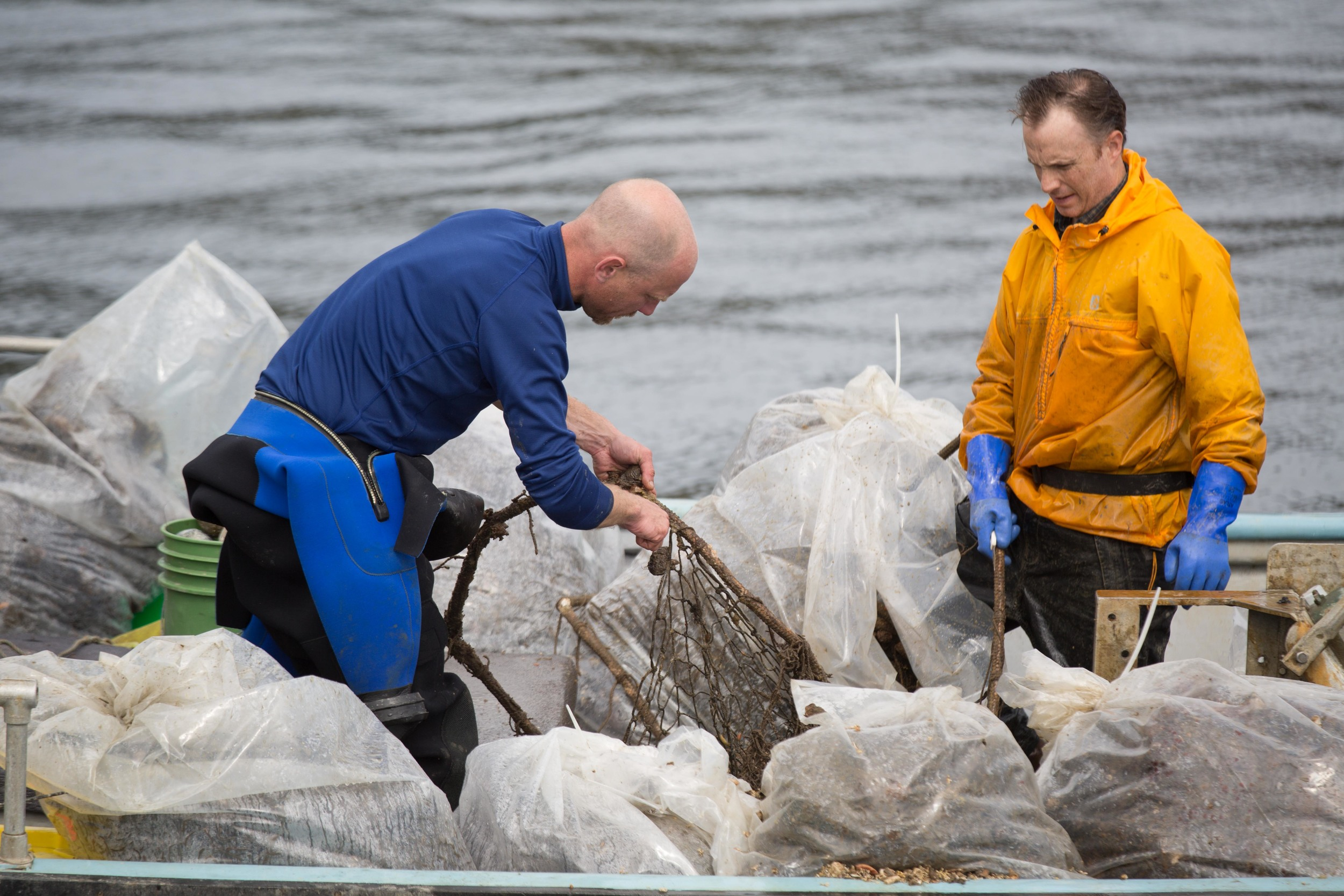 Preparing the recovered net to be transferred to Steveston Harbour