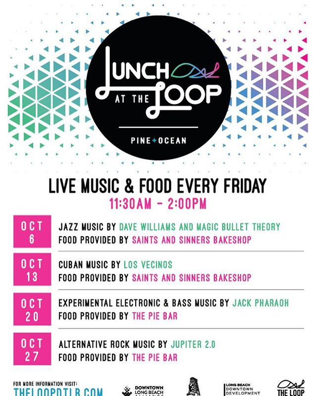Friday = Lunch at The Loop! 12pm-2pm - FREE SHOW! Today we are Buena Vista Social Club style with Cuban band 'Los Vecinos', sweet and savory treats from @saintsandsinnersbakeshop and there is always a Taco Truck. Buy a lunch, bring a lunch, just be there! #LunchattheLoop #DTLB