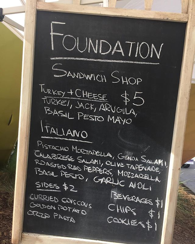 Here's the menu for today's Lunch at the Loop provided by Foundation Sandwich Shop. Free live music from Noon to 2pm.  Corner of Pine and Ocean. #DTLB @dlba
