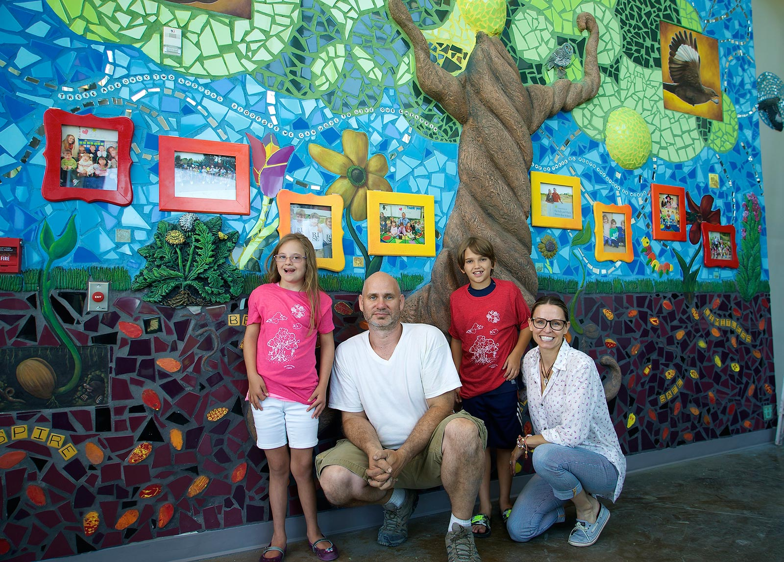 Artist, Tracy Van Duinen, and DEPT. OF CULTURE Founder Lisa Jennings with The Rise School of Austin Kids