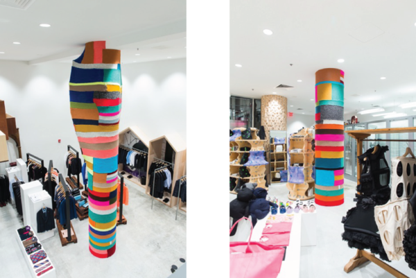 Magda Sayeg's installation for Comme des Garcons at the Dover Street Market in New York.  [Photos by:  Jonathan Hokklo  ]