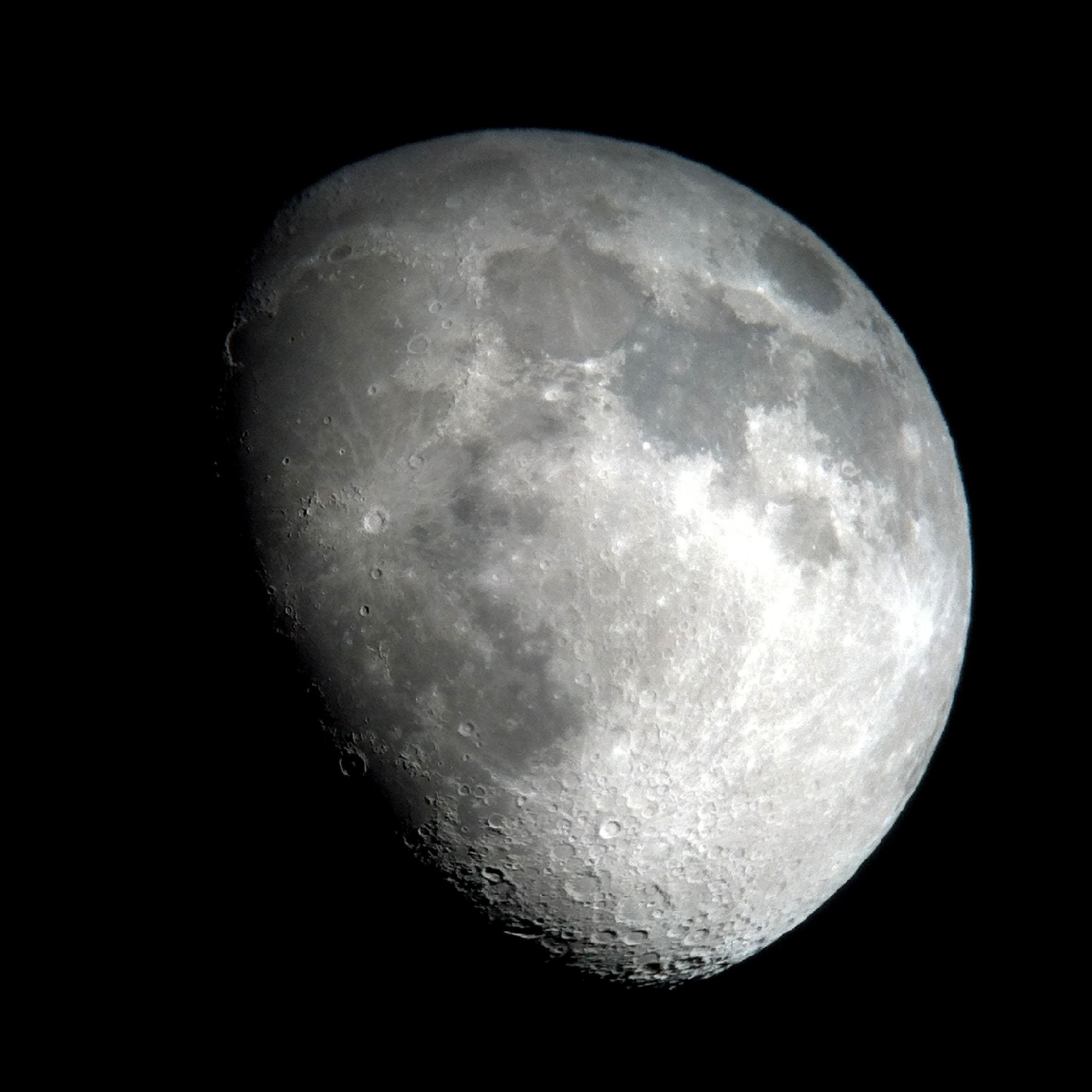 "the moon  (iPhone 4 through a 25mm lens on a 6"" Dobsonian telescope, Massachusetts 2015)"