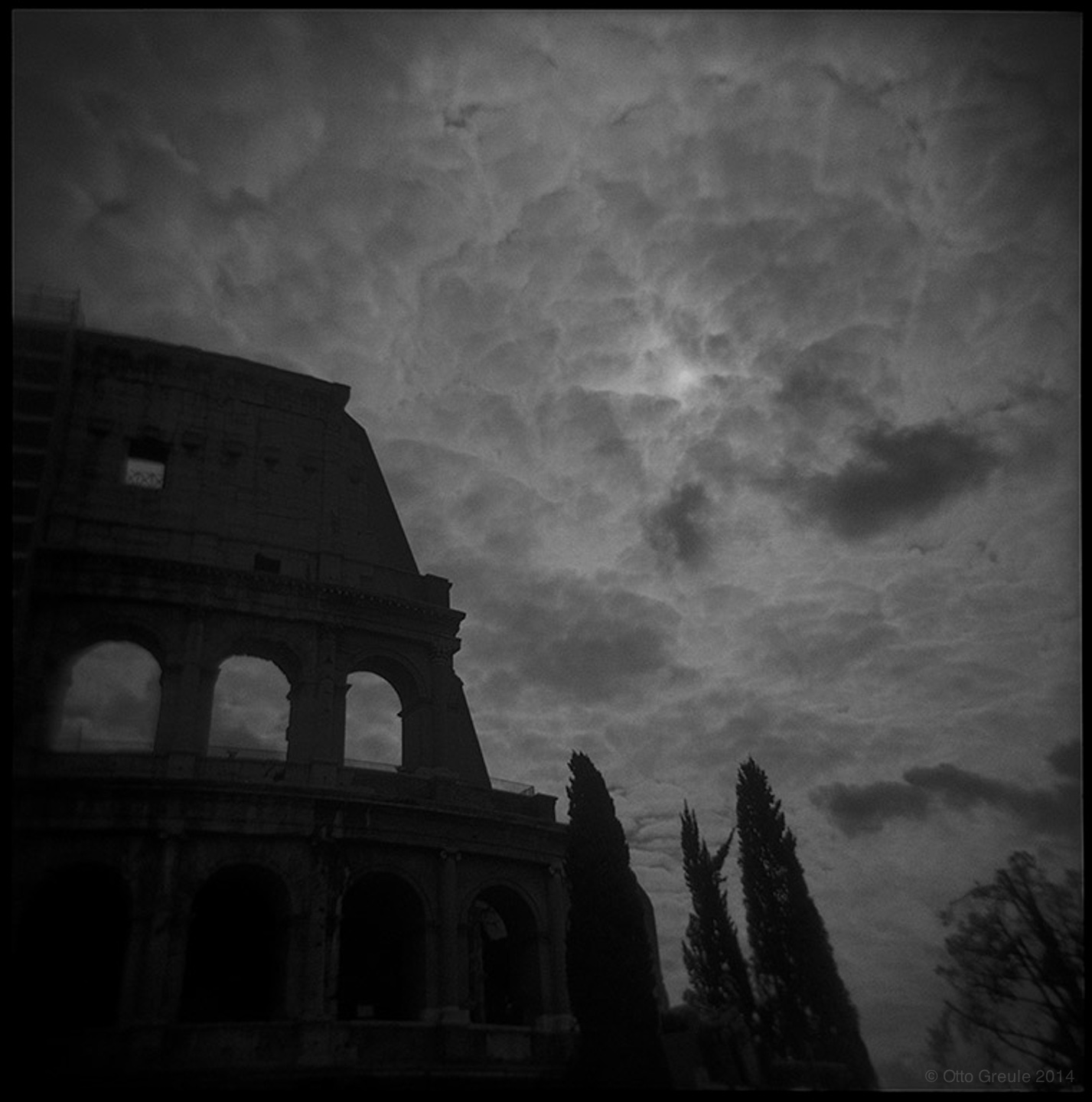 Afternoon Sky and Coliseum, Rome, Italy.