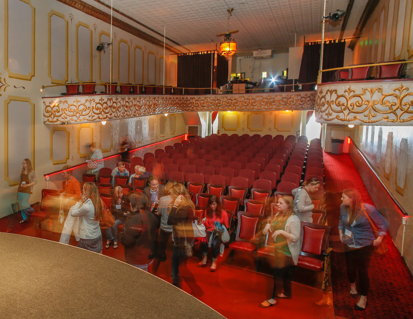Touring the historic Ruby Theatre, Chelan, WA.