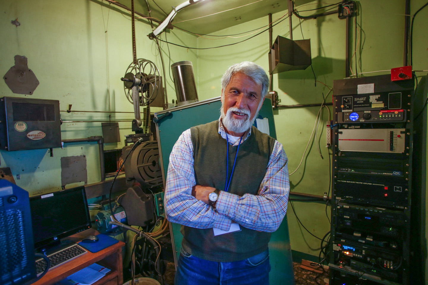 Architect Larry Hibbard  in the projection room of the Ruby Theatre.
