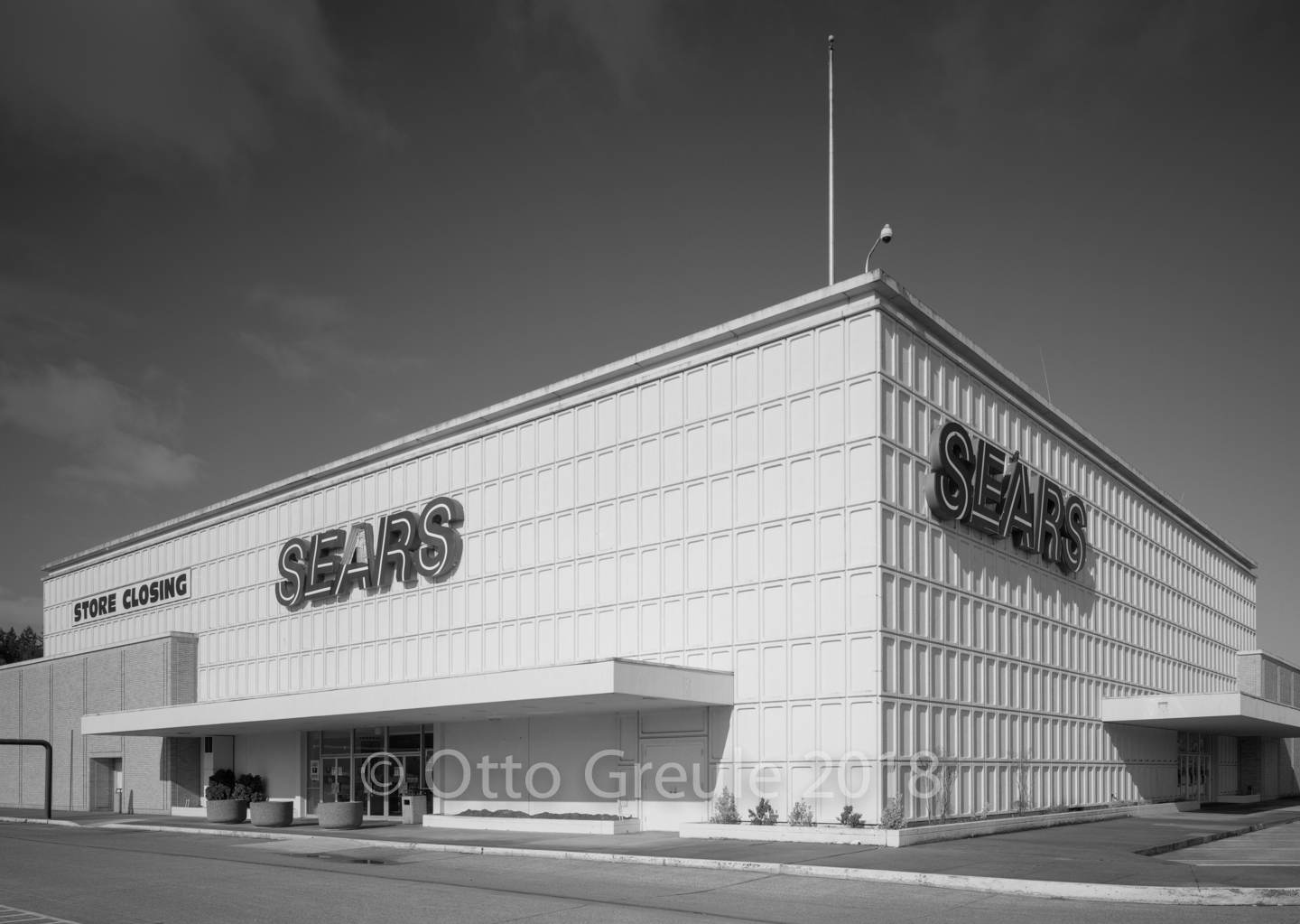 The east and north elevations of the Sears department store in Shoreline WA., April 2, 2018. Photographed on 5x7 inch panchromatic film.