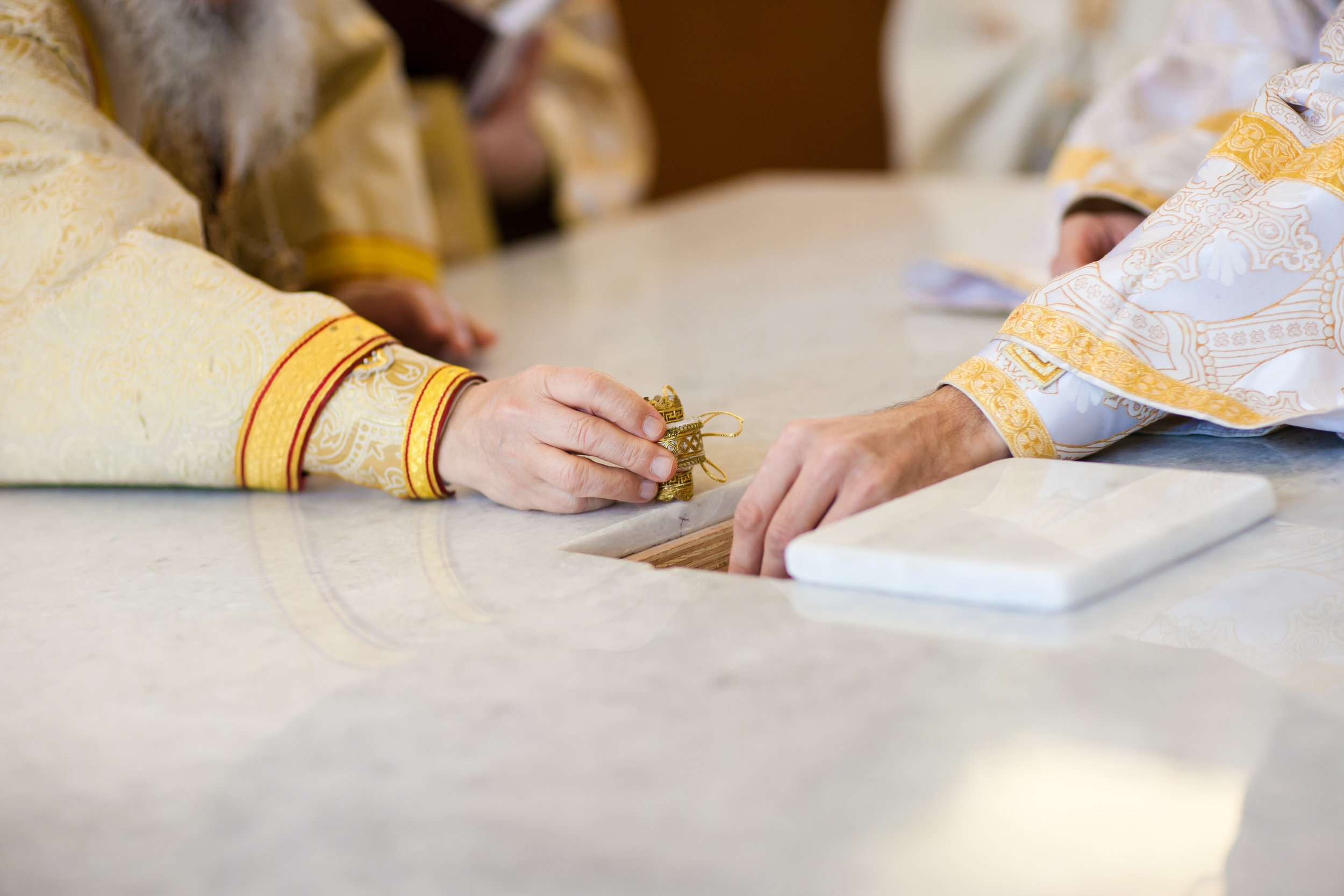 RELICS BEING SEALED IN ALTAR