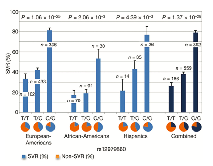 Figure 1. Genetic variation in IL28B predicts HCV treatment-induced viral clearance. Data are presented for each group as percentages + standard error of the mean. Reprinted from Nature 2009, 461:399-401, copyright 2009 with permission from MacMillan Publishers Ltd [8]