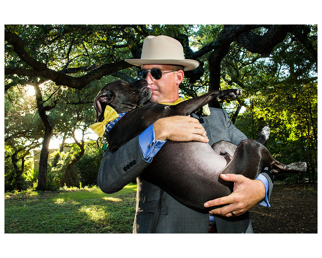 Russell Williams with his dog Merle Waggard, Mercury Hall, Austin, TX