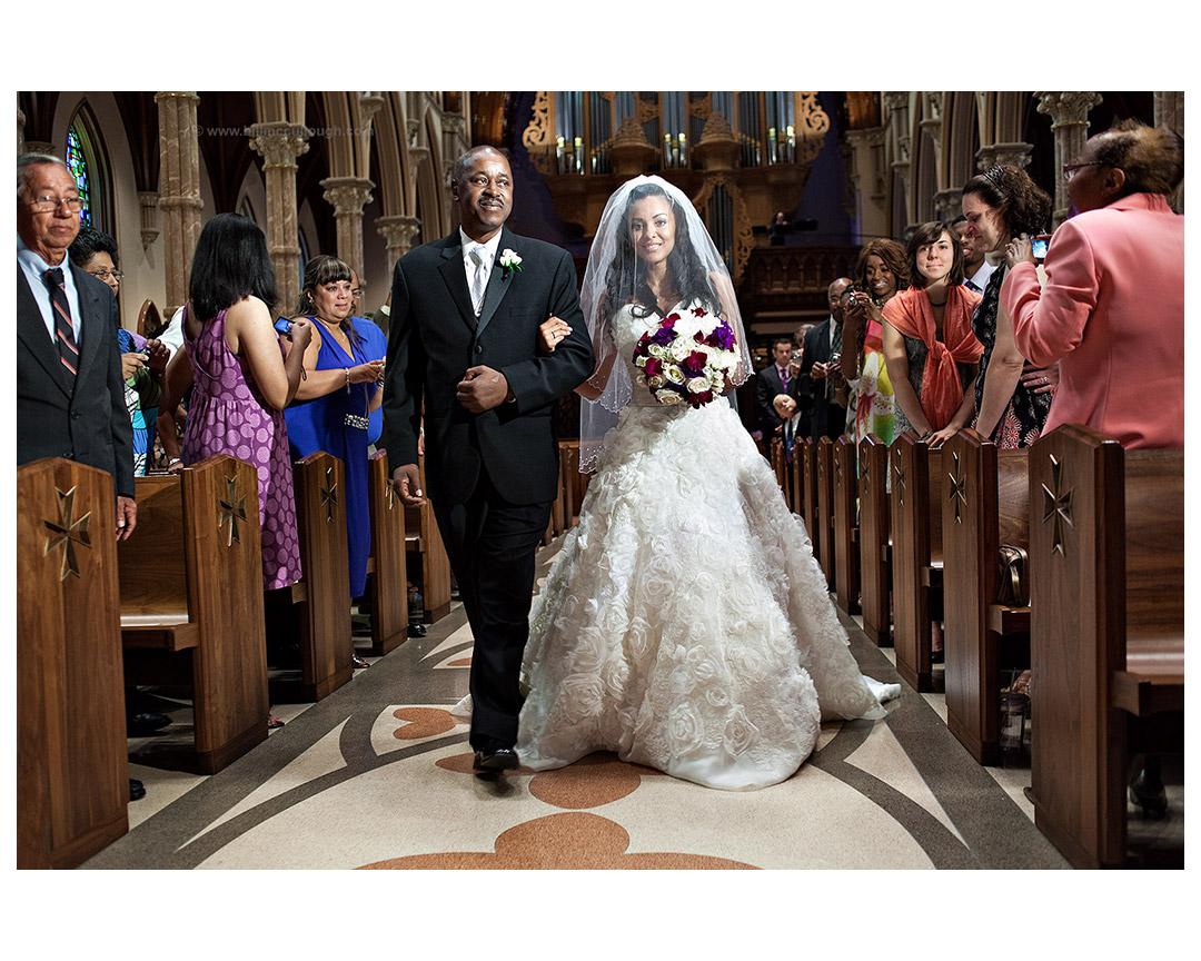 Tequia Hicks Delgado during her wedding ceremony, Holy Name Catholic Cathedral, Chicago, Illinois