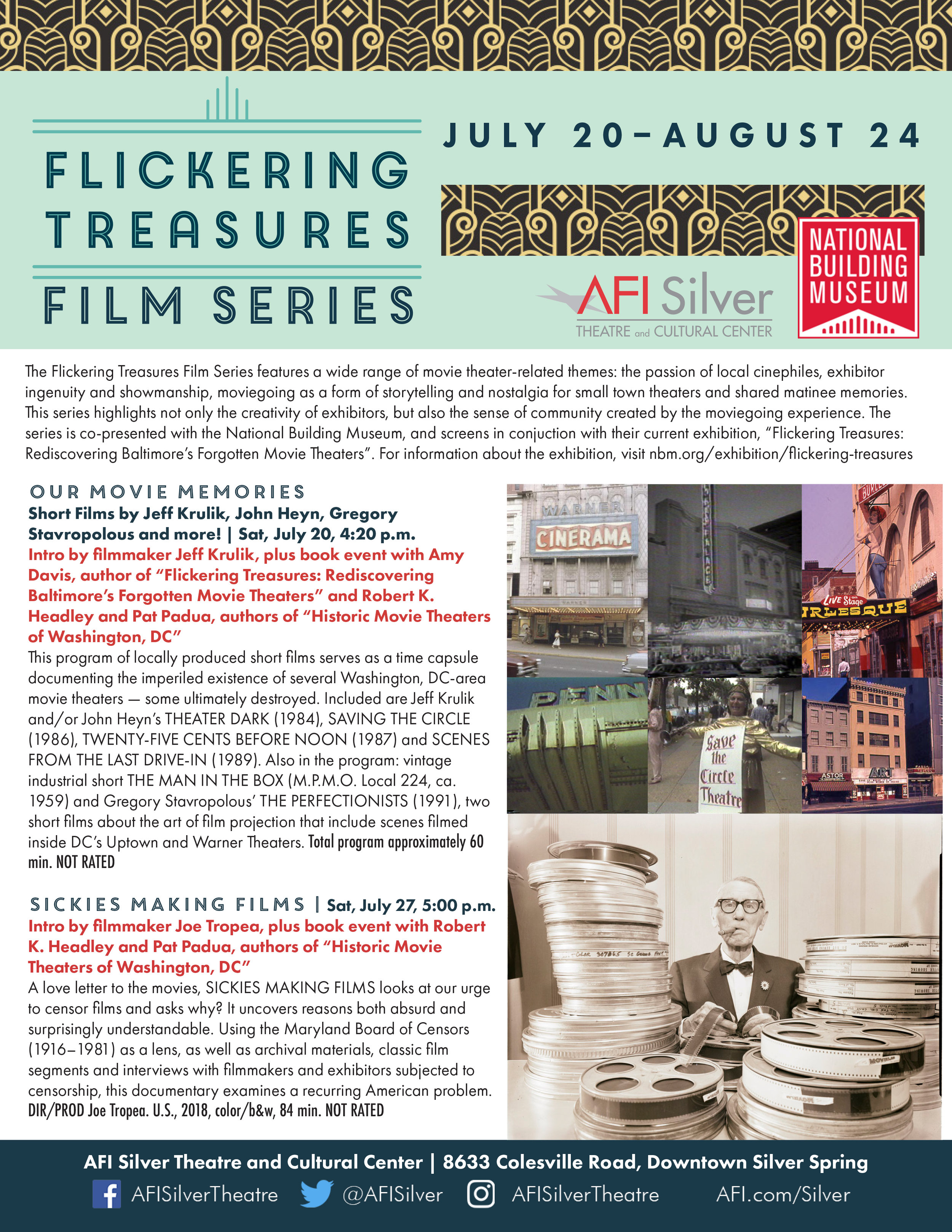 Next screening 7/27 - We'll be screening at the AFI Silver Theatre on July 27, 5:00pm. More details below.