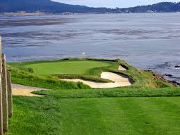 The classic par 3 7th at Pebble Beach is scenic but can be difficult with stronger winds, which is expected the first two days