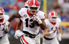 Can the great Elijah Holyfield finds holes to run through against the Crimson Tide defense (Photo, redandblack.com).