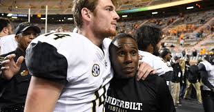 Vanderbilt quarterback Kyle Shurmur and Coach Derek Mason aim to earn the Commodores a 7-6 finish in the 2018 season. (Photo Knoxville News-Sentinel).