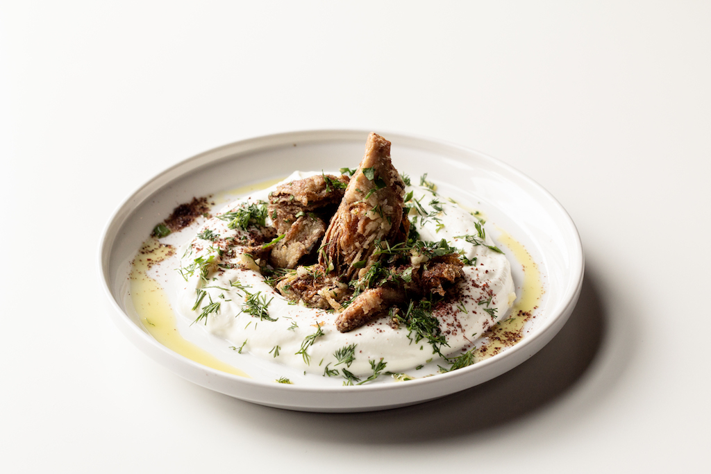 Labneh with Fried Artichokes