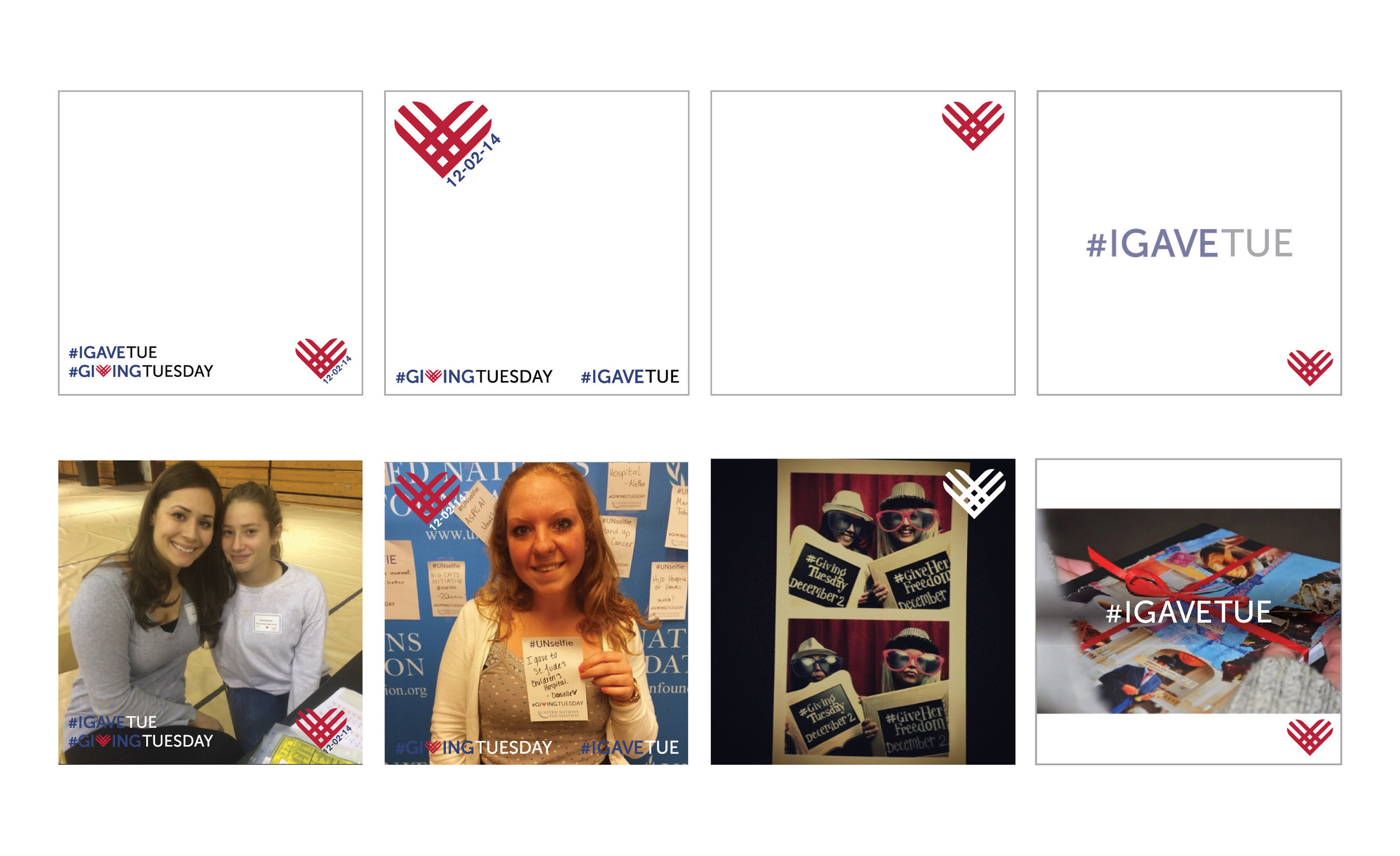 Giving tuesday templates to share on social media with photos.