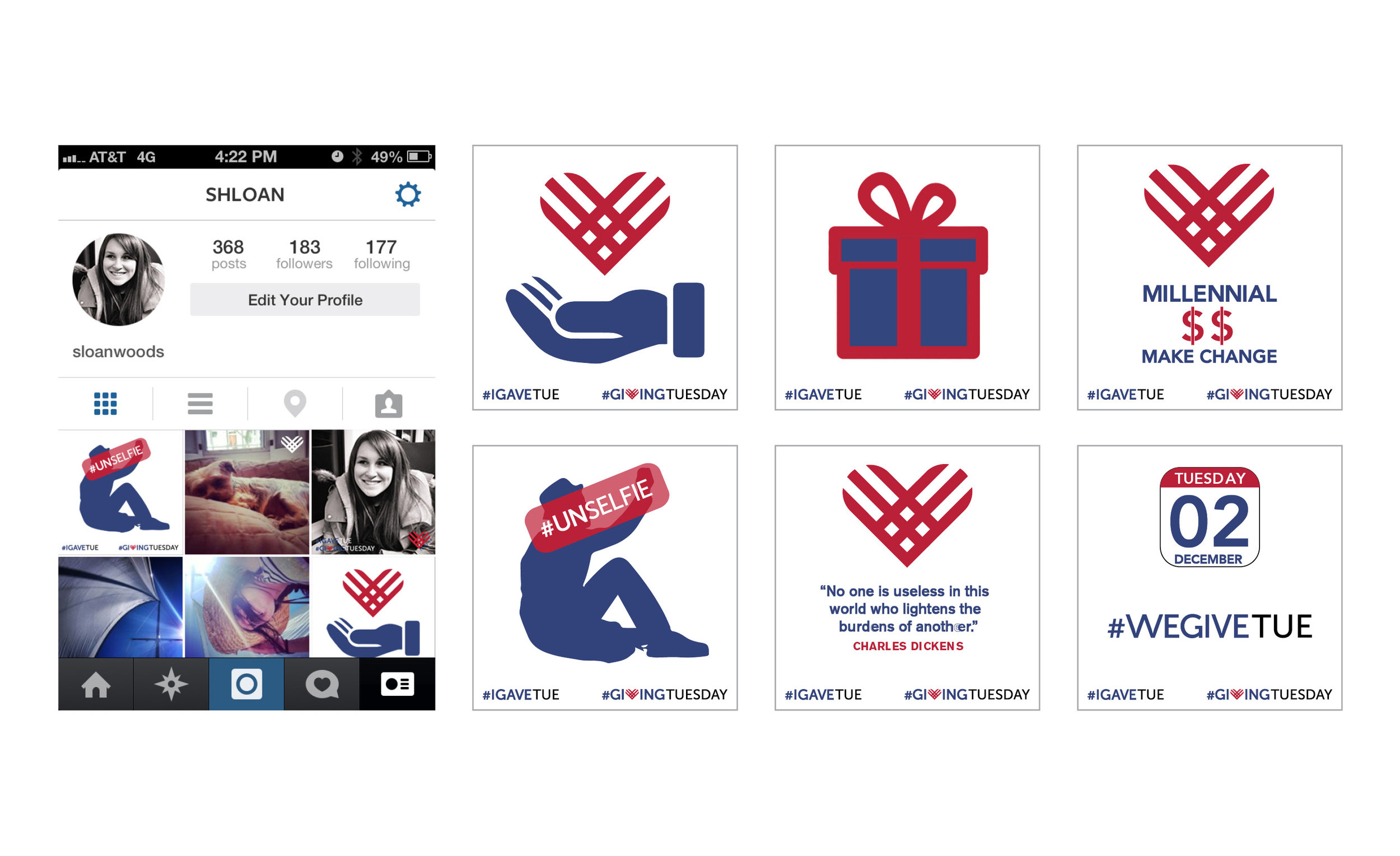 Instagram profile mockup & various posts for Instagram Giving Tuesday.