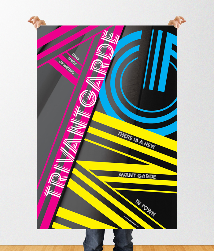 "Poster for new typography that I designed, ""Trivantgarde"". (Course work at MICA)"