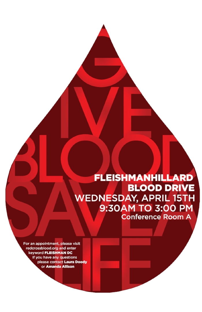 Poster for FleishmanHillard's D.C. office blood drive