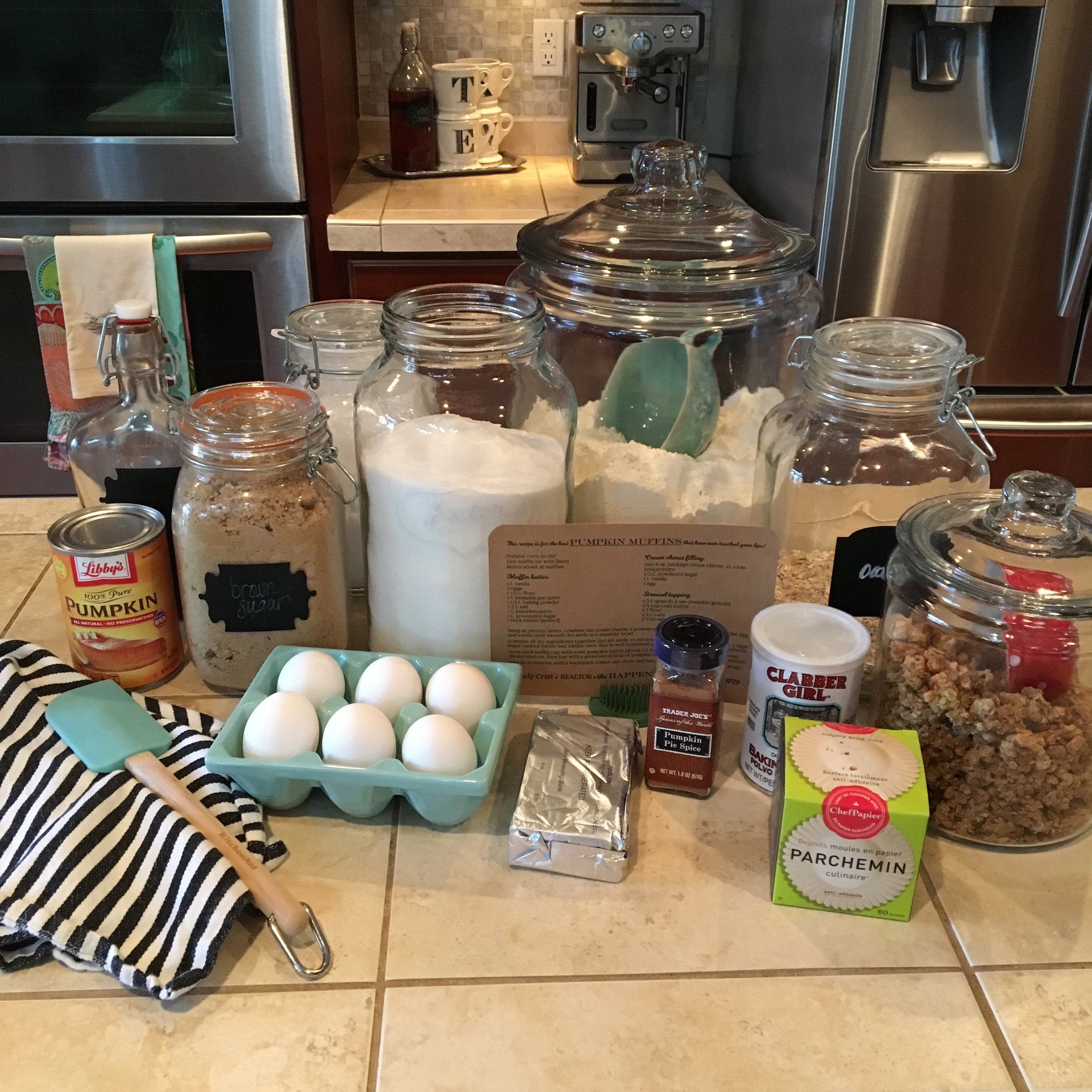 Ingredients for pumpkin cream cheese muffins - The Happening Home