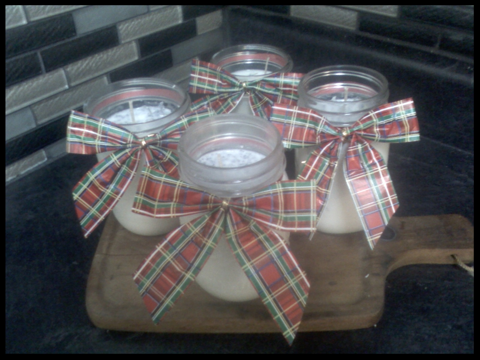 Homemade Christmas gifts. Soy Lavender candles.