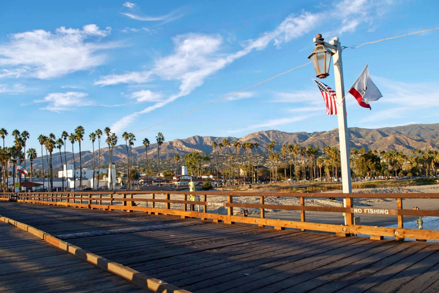 View of the mountains from Stearns Wharf in Santa Barbara, CA