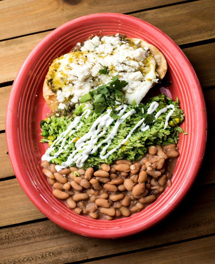 breakfast platter with beans