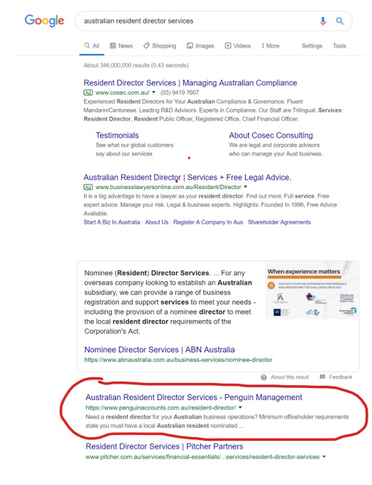 Google Page 1 for Australian resident director services.jpg