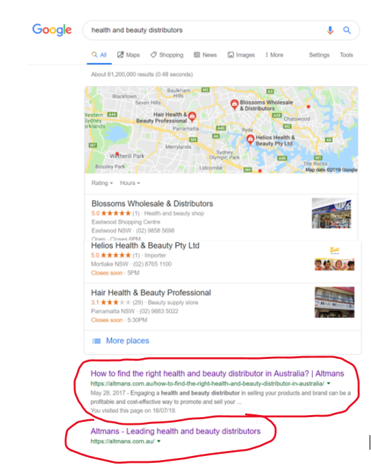 Google Page 1 for health and beauty distributors.png
