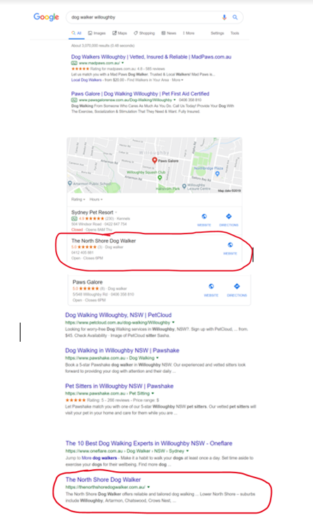 Google Page 1 for dogwalking willoughby.png