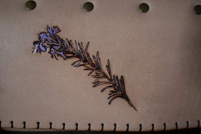 Lavender sprig chef knife roll