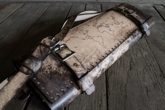World Map Custom Leather Chef Roll