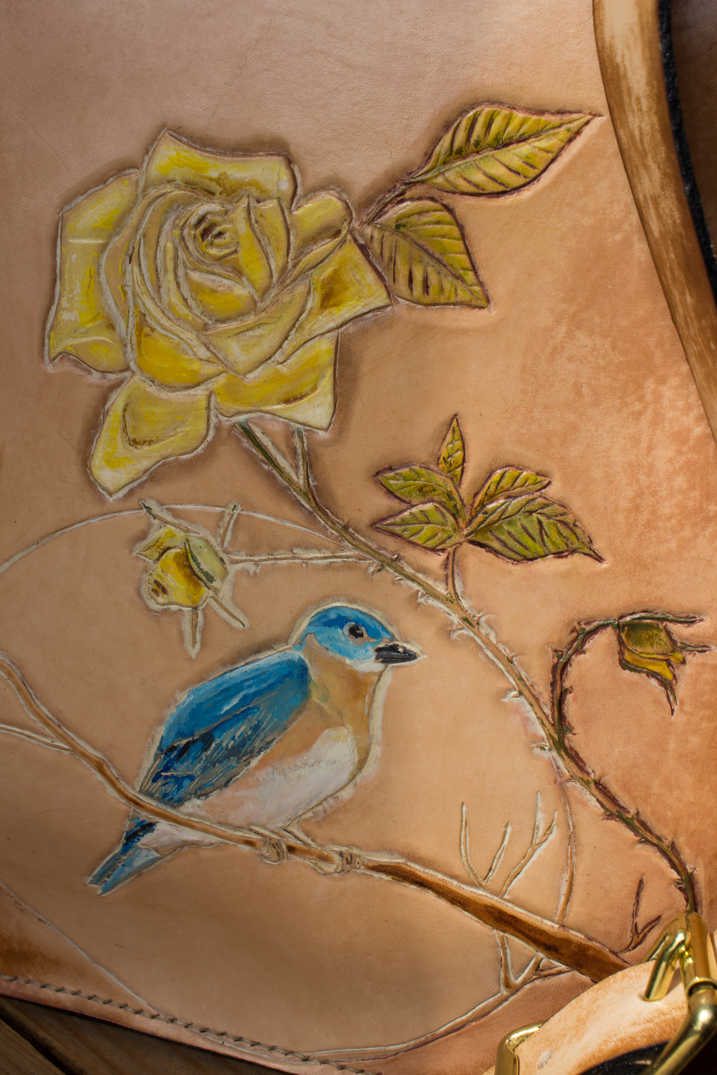 bluebird and yellow roses custom leather bag  Linny Kenney