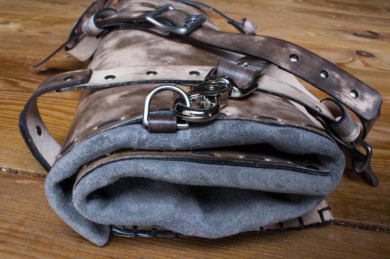 Natural leather knife bag