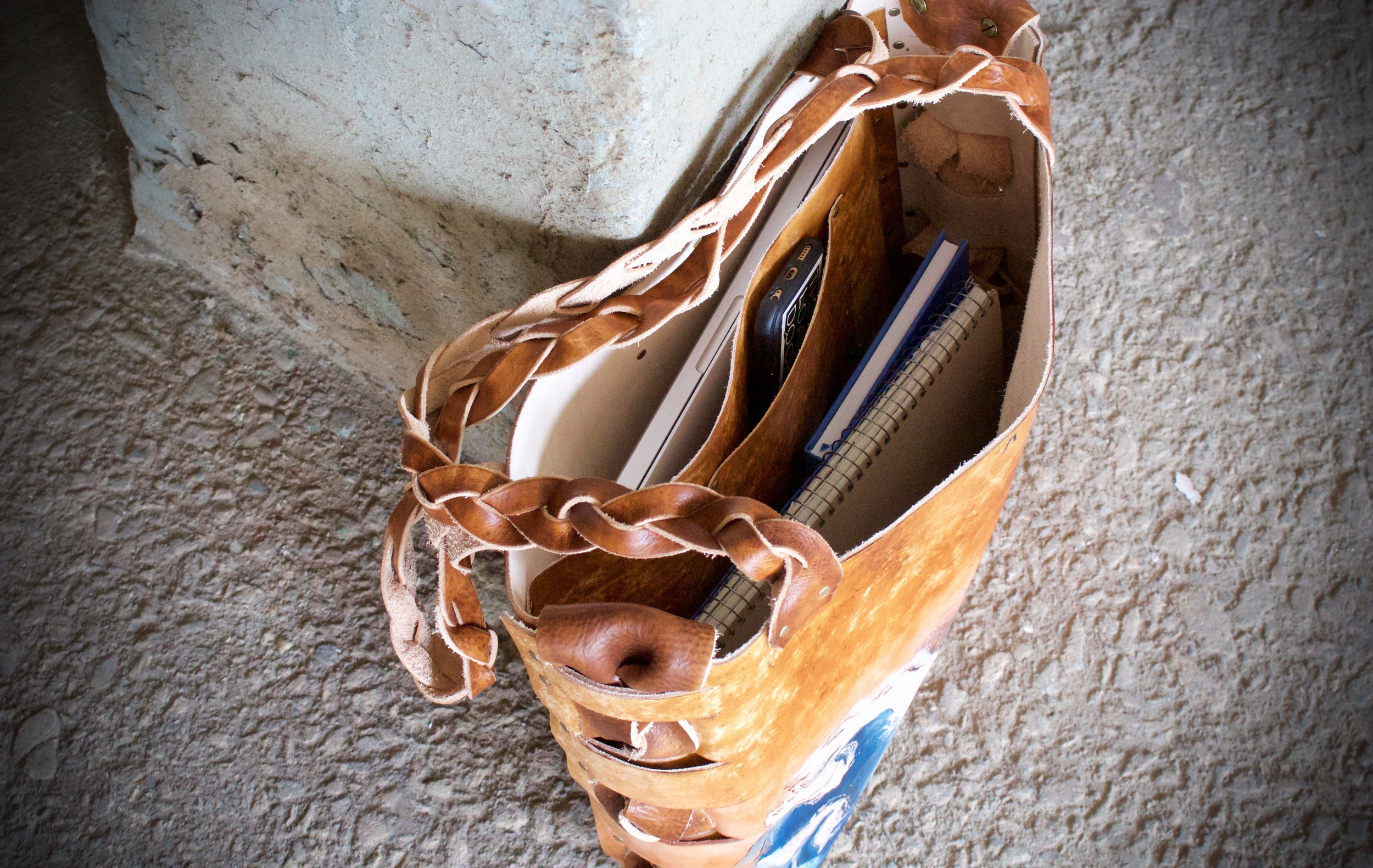 wave space flowers leather tote1.jpg