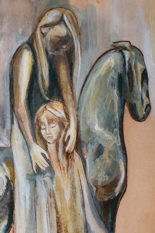 woman child and horse bag Linny Kenney.jpg