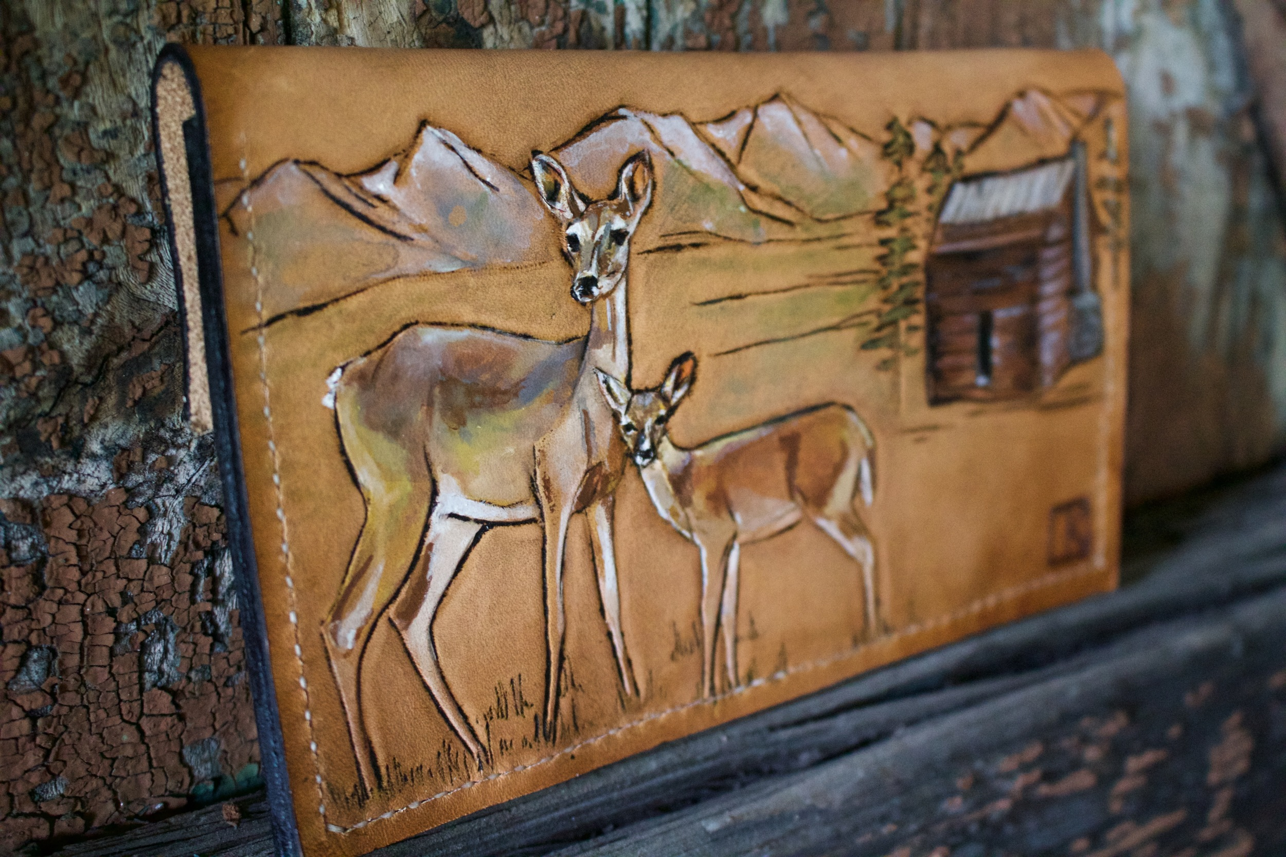 leather clutch wallet with deer2.jpg