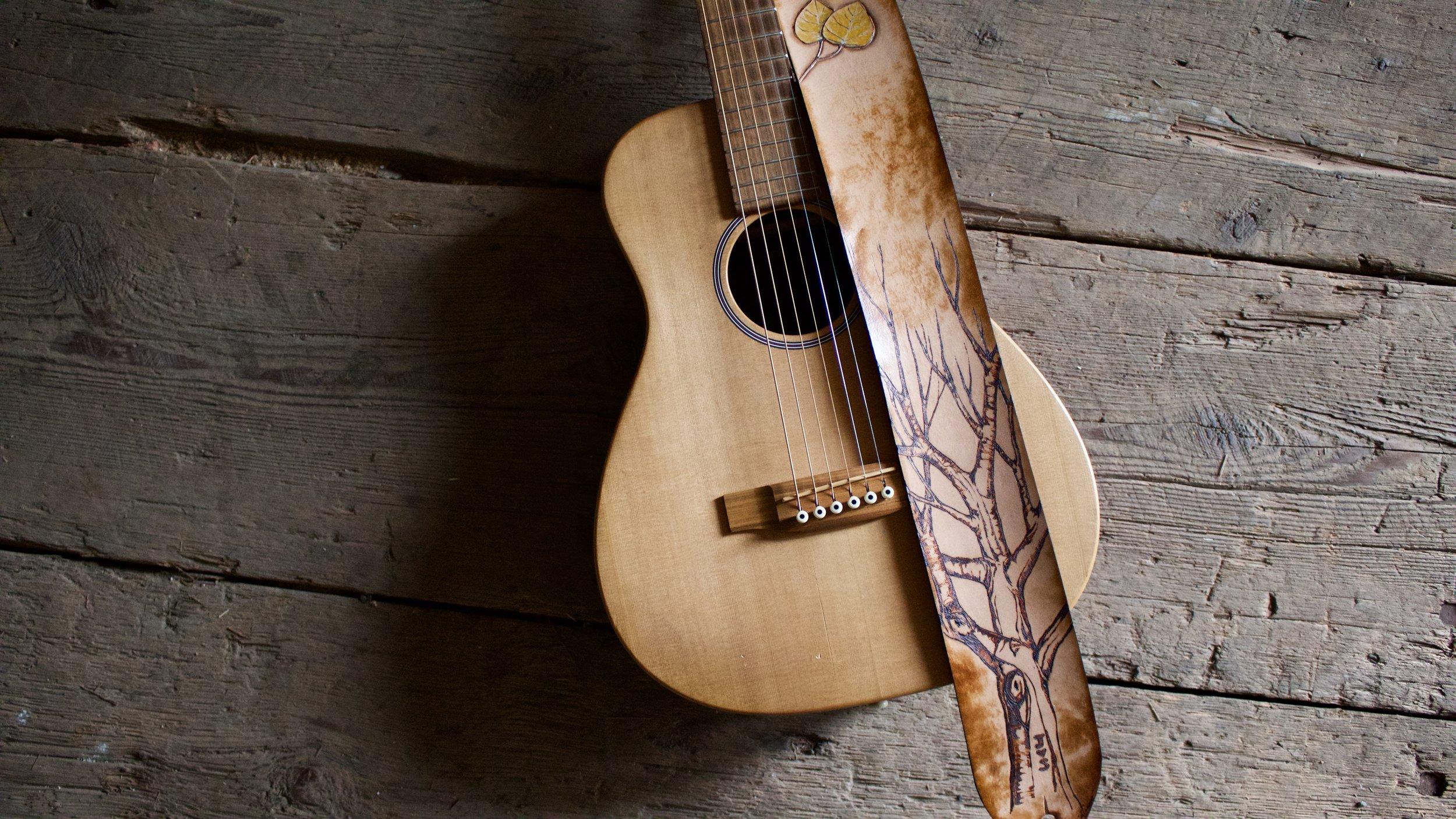 Tree and Aspen Leaves Guitar Strap  2.jpg